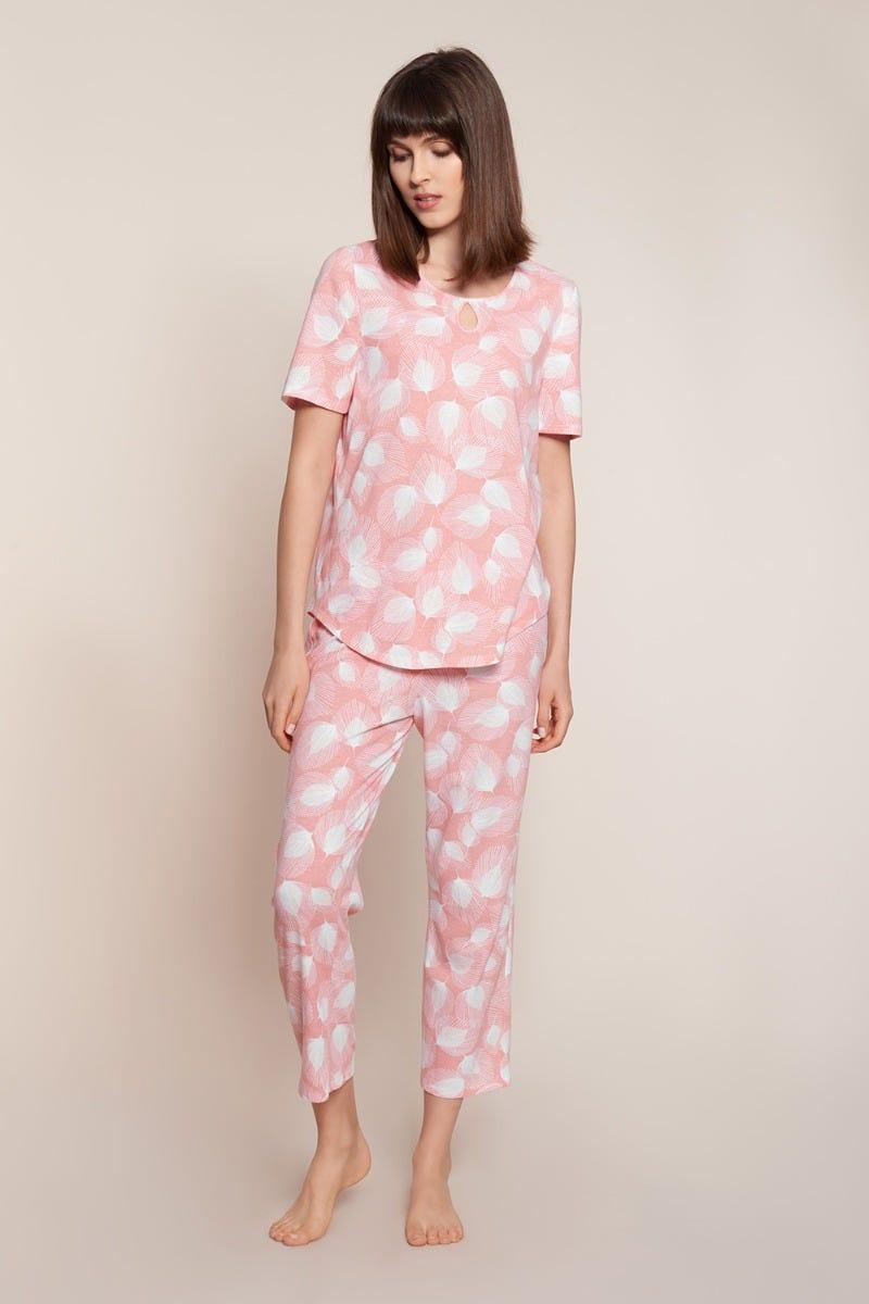 Pyjama im Blätterdruck grafisch soft pastellfarben 100% Baumwolle 1213087