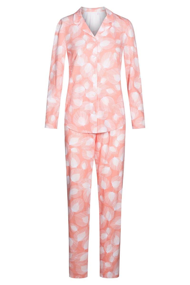 Pyjama im Blätterdruck grafisch Herrenhemdstil Knopfleiste soft pastellfarben Pfirsich 100% Baumwolle 1213088