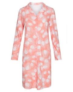 Nachthemd im Blätterdruck grafisch Herrenhemdstil Knopfleiste soft pastellfarben 100% Baumwolle 1213089