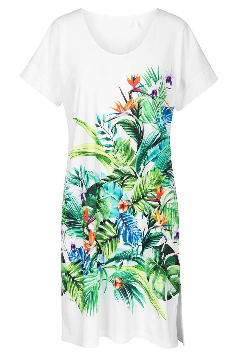 Bigshirt mit Dschungelblütenmotiv lässig exotisch 100% Baumwolle 1213097