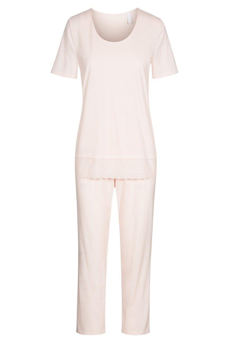 Pyjama mit feiner Webspitze pastellfarben Apricot 100% Baumwolle 1213100