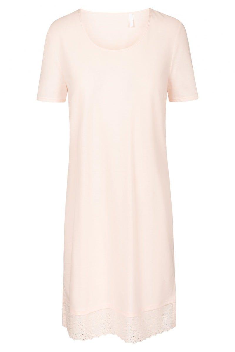 Bigshirt mit feiner Webspitze pastellfarben dezent Apricot 100% Baumwolle 1213101