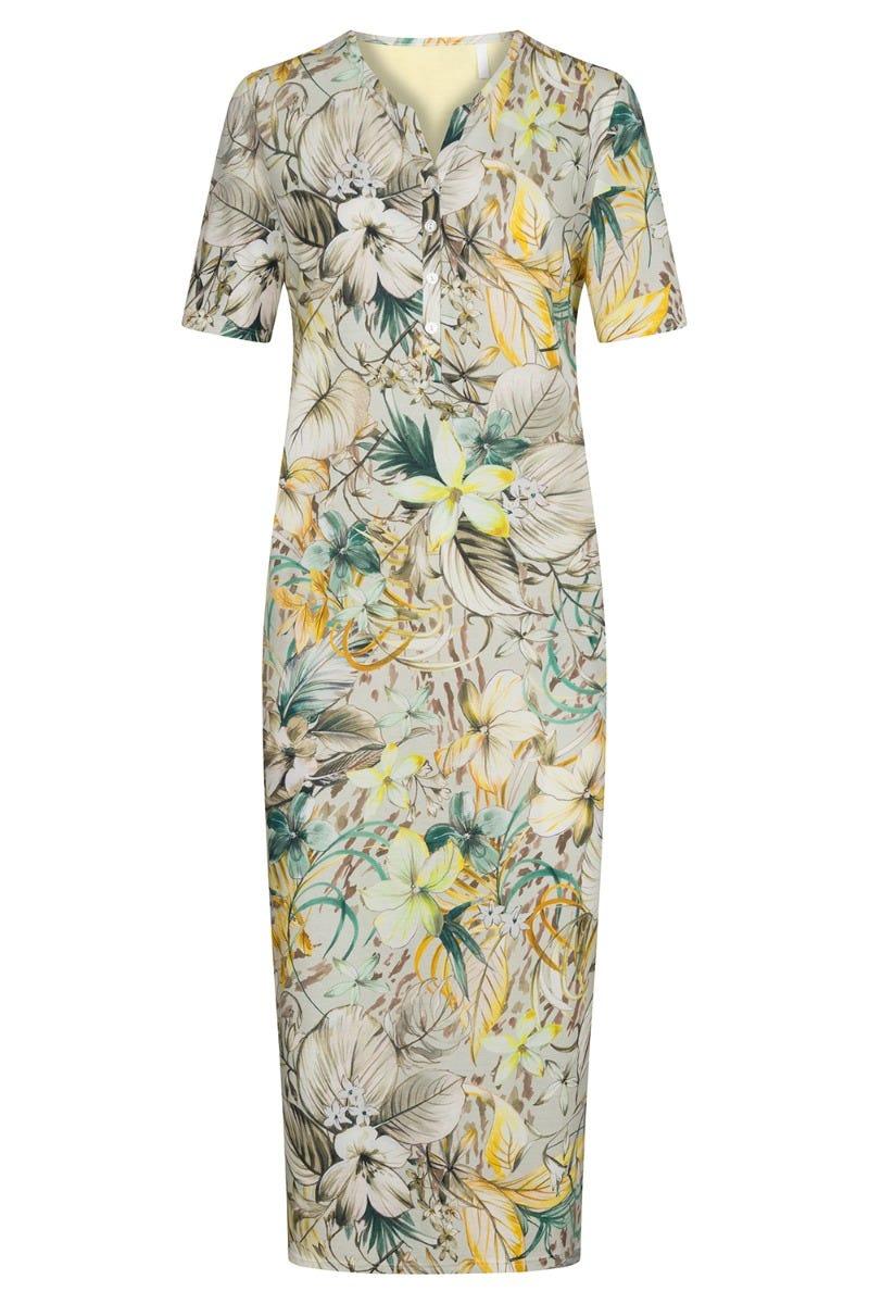 Nachtkleid im sommerlichen Blütendruck floral Maxilänge Knopfleiste Baumwolle/Modal 1213106