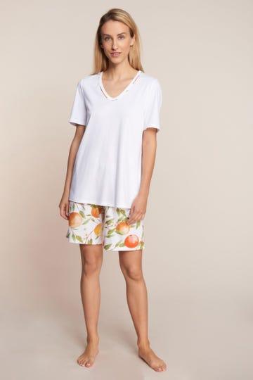 Pyjama kurz mit mediterranen Print Sweet Orange Bermuda 100% Baumwolle 1213109