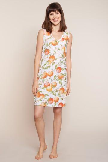 Bigshirt ärmellos im mediterranen Print Sweet Orange sommerlich 100% Baumwolle 1213111