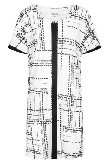 Nachthemd im Grafikprint Schwarz-Weiß Tunika Große Größen Baumwolle/Modal 1213115