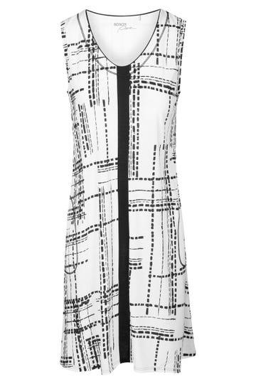 Bigshirt im Grafikprint Schwarz-Weiß Freizeitkleid Große Größen Baumwolle/Modal 1213116