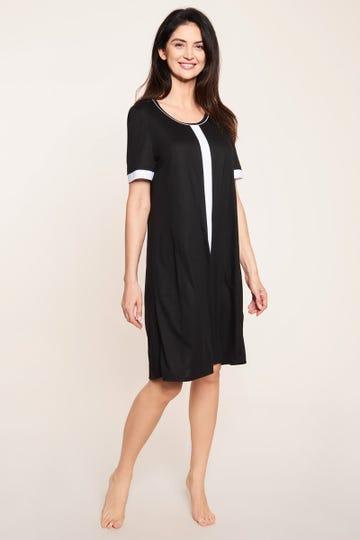 Freizeitkleid mit Kontraststreifen Schwarz-Weiß sportiv Bigshirt Große Größen Baumwolle/Modal 1213117
