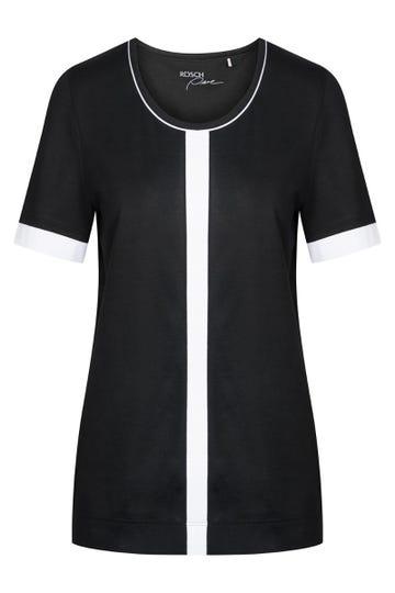 T-Shirt mit Kontraststreifen Schwarz-Weiß sportiv Große Größen Baumwolle/Modal 1213120