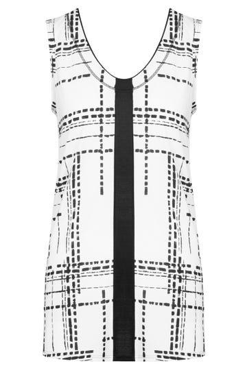 Top im Grafikprint Schwarz-Weiß Freizeitshirt Große Größen Baumwolle/Modal 1213121