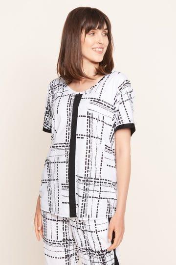 T-Shirt im Grafikprint Schwarz-Weiß Freizeitshirt Große Größen Baumwolle/Modal 1213122