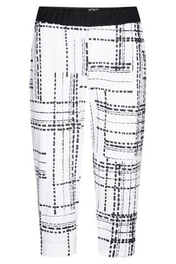 3/4-Hose im Grafikprint Schwarz-Weiß Große Größen Baumwolle/Modal 1213126