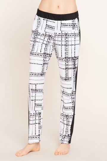 Pyjamahose im Grafikprint Schwarz-Weiß Große Größen Baumwolle/Modal 1213127