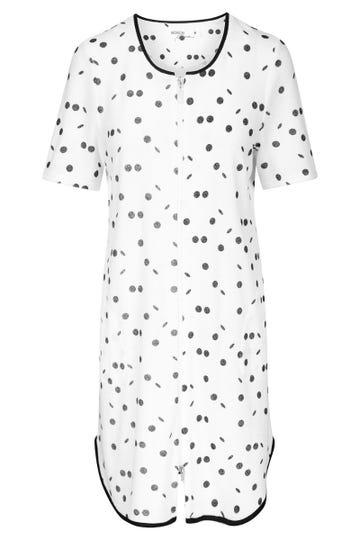 Frotteekleid im Punktedruck Schwarz-Weiß Tupfen Reißverschluss Hauskleid Baumwolle/Polyester 1213129