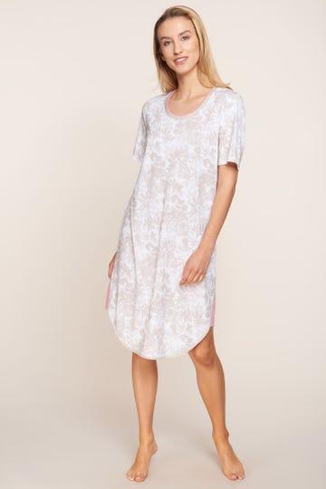 Bigshirt im pastellfarbenen Blumenprint Layeringdetail sommerlich zart Baumwolle/Modal 1213132