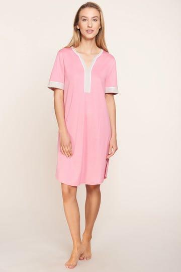 Bigshirt mit Kontrastdetails pastellfarben sommerlich Tunika-Style Baumwolle/Modal 1213133
