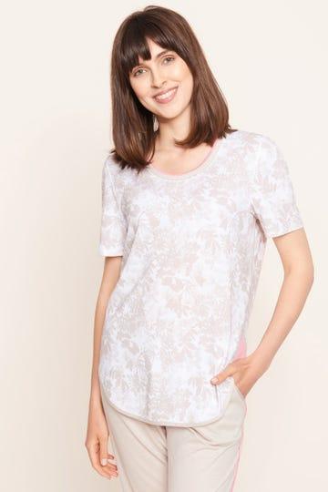 Shirt im pastellfarbenen Blumenprint Layeringdetail sommerlich zart Baumwolle/Modal 1213136