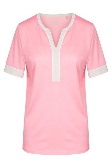 Shirt mit Kontrastdetails pastellfarben sommerlich Baumwolle/Modal 1213137