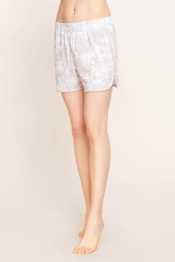 Shorts im pastellfarbenen Blumenprint Kontrastdetail sommerlich zart Baumwolle/Modal 1213141