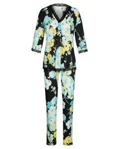 Pyjama mit winterlichen Blumendruck Kimono-Style Spitzendetails Baumwolle/Modal 1213155