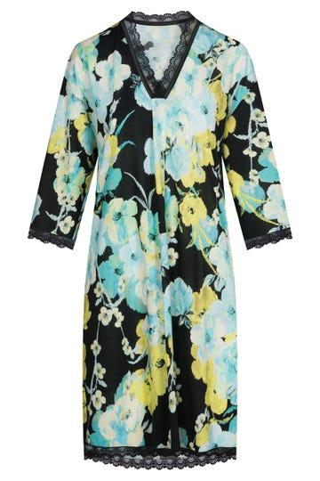 Bigshirt im winterlichen Blumendruck Kimono-Style Spitzendetails Baumwolle/Modal 1213156