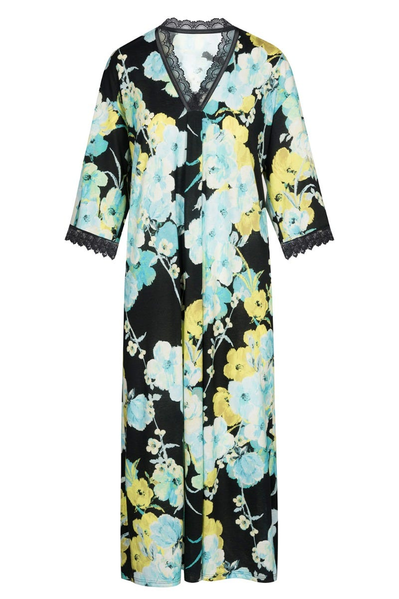 Nachtkleid im winterlichen Blumendruck Kimono-Style Spitzendetails Baumwolle/Modal 1213157