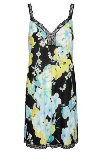 Trägerkleid im winterlichen Blumendruck Kimono-Style Spitzendetails Baumwolle/Modal 1213158