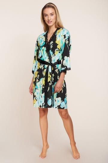 Morgenmantel leicht im winterlichen Blumendruck Kimono-Style Spitzendetails Baumwolle/Modal 1213159