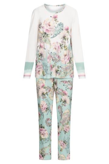 Pyjama im platzierten Blütendruck romantisch verspielt Baumwolle/Modal