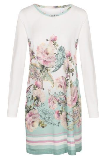 Bigshirt im platzierten Blütendruck romantisch verspielt Baumwolle/Modal