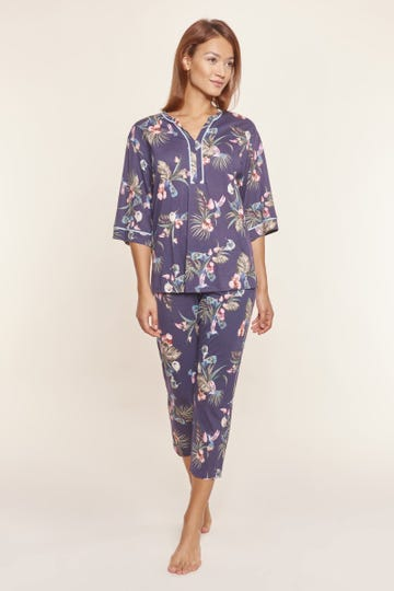 Pyjama mit exotischem Blumenprint Tunika-Style lässig Baumwolle/Modal