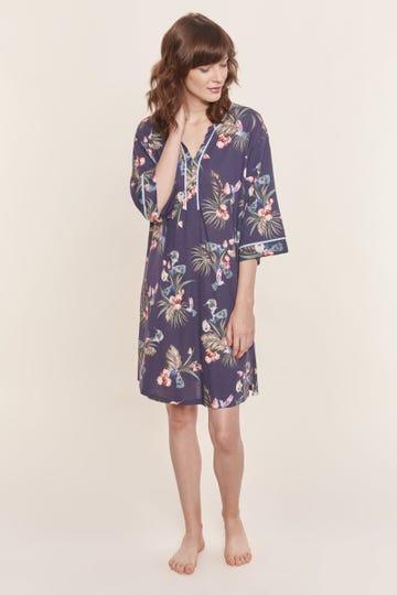 Bigshirt mit exotischem Blumenprint Tunika-Style lässig Baumwolle/Modal