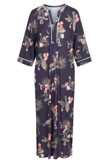 Nachtkleid mit exotischem Blumenprint Tunika-Style Maxilänge lässig Baumwolle/Modal