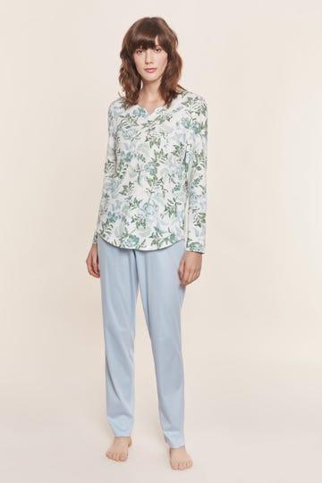 Pyjama mit pastellfarbenem Blütenprint romantisch 100% Baumwolle