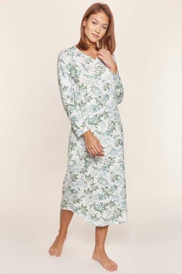 Nachtkleid mit pastellfarbenem Blütenprint Maxilänge romantisch 100% Baumwolle