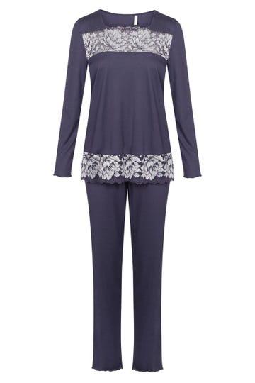 Pyjama mit Spitzendetails romantisch Baumwolle/Modal