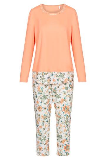 Pyjama mit Ornament-Druck und Layering-Details floral 100% Baumwolle