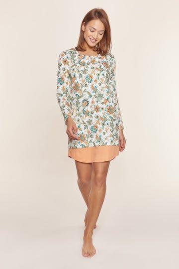 Nachthemd im Ornament-Druck und Layering-Details floral 100% Baumwolle