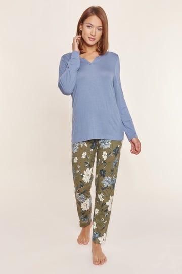 Pyjama mit Blumendruck Bicolor floral Baumwolle/Modal