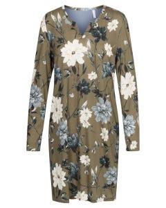 Bigshirt im Blumendruck Olivgrün floral Baumwolle/Modal