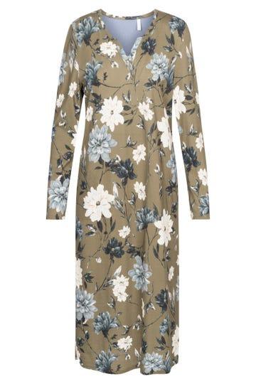 Nachtkleid im Blumendruck MaxilängeOlivgrün floral Baumwolle/Modal