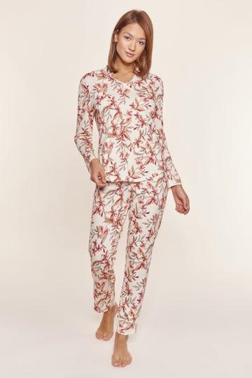 Pyjama im Blütendruck Allover floral verspielt Baumwolle/Modal