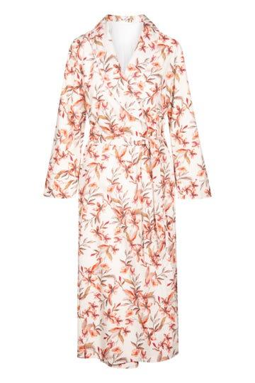 Morgenmantel im Blütendruck Allover Satin floral verspielt Baumwolle/Modal
