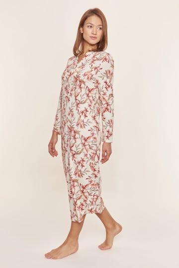 Nachtkleid im Blütendruck Allover Maxilänge floral verspielt Baumwolle/Modal