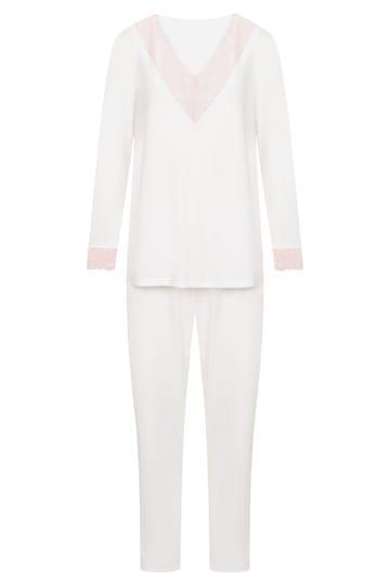Pyjama mit feinen Spitzendetails Pastellfarben romantisch Baumwolle