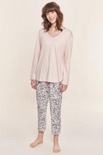 Pyjama im ornamentalen Blütenprint verspielt 100% Baumwolle