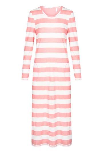 Nachtkleid im Streifenprint Maxilänge Blockstreifen sportiv 100% Baumwolle