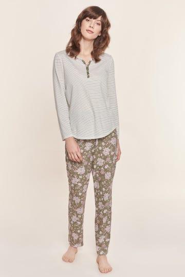 Pyjama im Mustermix Streifen Blumendruck romantisch 100% Baumwolle