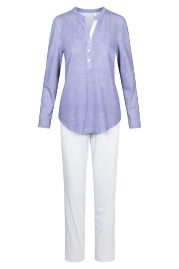 Pyjama im Mustermix minimalistische Tupfen-Streifen Knopfleiste 100% Baumwolle