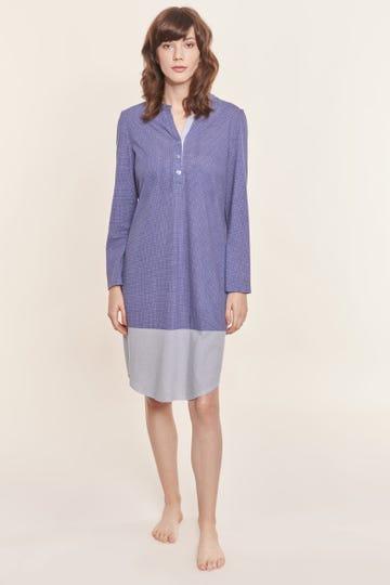 Nachthemd im Mustermix minimalistische Tupfen-Streifen Knopfleiste 100% Baumwolle